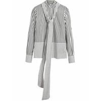 Burberry Camisa Listrada Com Estampa - Branco