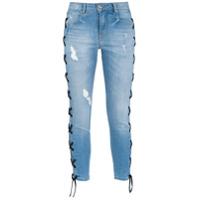 Amapô Calça Jeans Skinny Cropped 'lace' - Azul