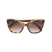 Alexander Mcqueen Eyewear Óculos De Sol Com Aplicações - Marrom
