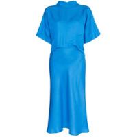 Carcel Vestido De Seda Com Gola Alta - Azul