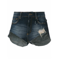 John John Short Curto Jeans Puídos - Azul