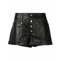 Saint Laurent Mid-Rise Leather Shorts - Preto