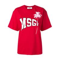 Msgm Camiseta Com Logo - Vermelho