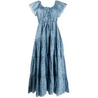 Innika Choo Vestido Longo De Algodão Com Amarração - Azul
