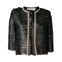 Caban Romantic Cropped Scalloped Pattern Jacket - Preto