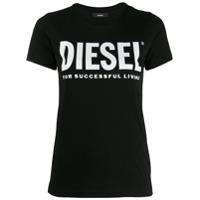 Diesel Camiseta Com Estampa De Logo Em Pvc - Preto