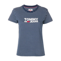 Tommy Jeans Striped Logo T-Shirt - Azul