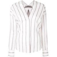 Vince Camisa Listrada Gola V - Branco