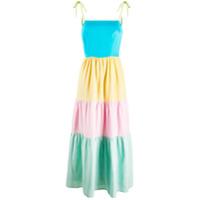Olivia Rubin Vestido Longo Com Amarração - Azul
