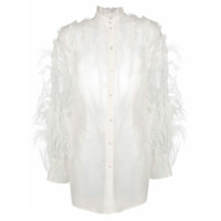 Valentino Frilled Elongated Shirt - Branco