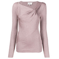 3.1 Phillip Lim Metallic Fitted Knitted Top - Rosa