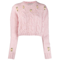 Alessandra Rich Cropped Cable Knit Jumper - Rosa