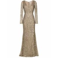 Rachel Gilbert Vestido Longo Com Paetês - Marrom