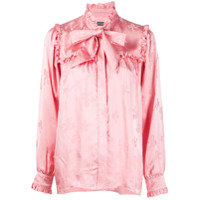 Alexa Chung Camisa Estampada Com Gola Laço - Rosa
