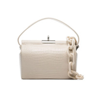 Gu_De Ivory Milk Medium Croc-Effect Leather Shoulder Bag - Branco