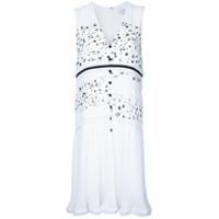 Carven Vestido Estampado Com Botões - Branco
