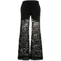 Valentino Calça Pantalona Com Renda - Preto