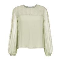 Nk Collection Blusa De Seda Com Renda - Green