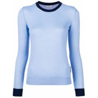 Moncler Suéter Com Lista Na Gola E No Punho - Azul