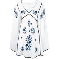 Vita Kin Vestido De Linho Com Bordado - Branco
