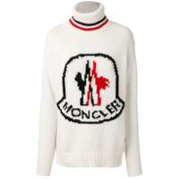 Moncler Suéter Gola Alta Com Logo - Branco