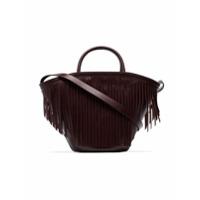 Trademark Burgundy Leather Fringed Tote Bag - Vermelho