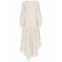 Stella Mccartney Vestido Longo De Seda Com Logo - Branco