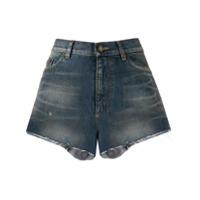 Saint Laurent Short Jeans Com Cintura Alta - Azul