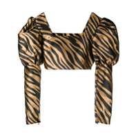 The Andamane Blusa Cropped Com Estampa De Zebra - Marrom