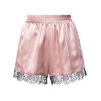 Fleur Du Mal Shorts 'margo' De Renda E Seda - Rosa