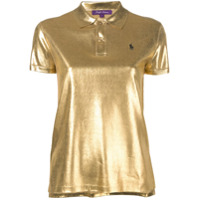 Ralph Lauren Collection Silk Lamé Polo Top - Dourado