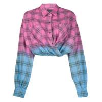 Amiri Camisa Cropped Xadrez - Rosa