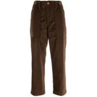 Jejia High Waisted Cropped Trousers - Marrom
