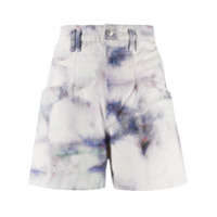 Isabel Marant Short Jeans Cintura Alta Manchado - Azul