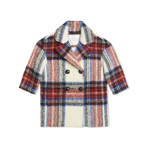 Burberry Kids Tartan Wool Alpaca Blend Tailored Coat - Branco