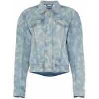 Gmbh Jaqueta Jeans Com Estampa De Folha - Azul