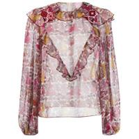 Giamba Blusa Translúcida Com Estampa Floral - Rosa