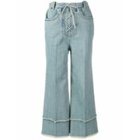 Miu Miu Calça Jeans Com Amarração - Azul