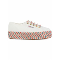Superga Patterned Woven Sole Platform Sneakers - Branco