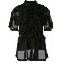 Noir Ruched-Detail Fitted Top - Preto