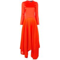 Solace London Vestido Midi Assimétrico - Vermelho