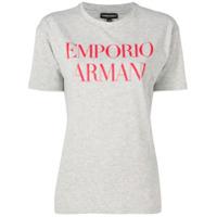 Emporio Armani Logo Print T-Shirt - Cinza