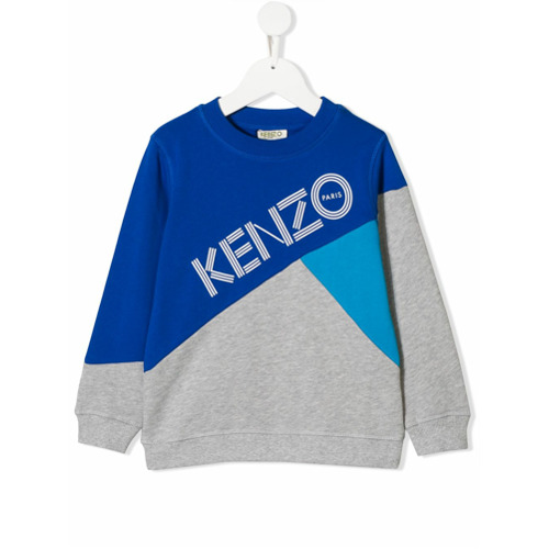 Imagem de Kenzo Kids Moletom color block com logo - Cinza