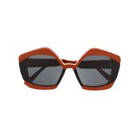 Marni Eyewear Óculos De Sol Oversized - Laranja