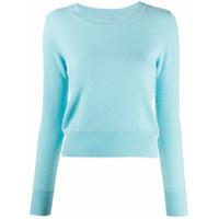 Naadam Suéter Cropped Com Decote Careca - Azul
