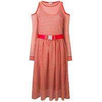 Fendi Vestido Midi Com Cinto - Vermelho