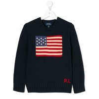 Ralph Lauren Kids Suéter com estampa de bandeira - Azul - FarFetch BR