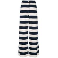 Harvey Faircloth Calça Pantalona Listrada - Branco