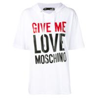 Love Moschino Moletom Oversized Com Estampa De Slogan - Branco