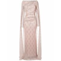 Talbot Runhof Vestido Evasê Longo Com Mangas Longas - Rosa